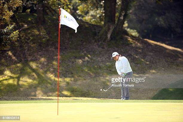 Sun-Ju Ahn of South Korea chips onto the 3rd green during the T-Point Ladies Golf Tournament at the Wakagi Golf Club on March 20, 2016 in Takeo,...