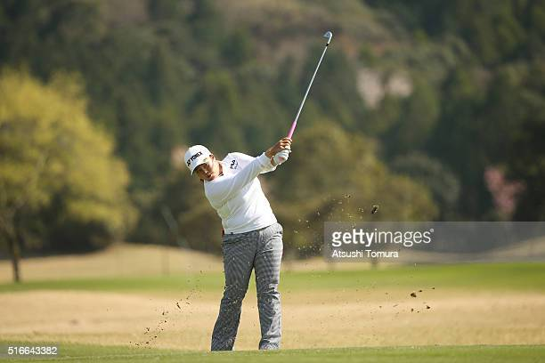 Sun-Ju Ahn of South Korea hits her second shot on the 18th hole during the T-Point Ladies Golf Tournament at the Wakagi Golf Club on March 20, 2016...