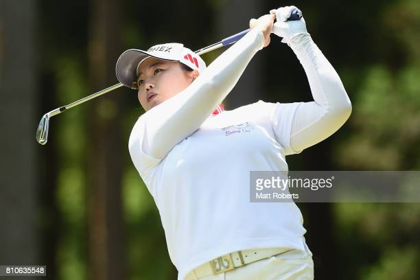 SunJu Ahn of South Korea hits her tee shot on the 12th hole during the second round of the Nipponham Ladies Classics at the Ambix Hakodate Club on...