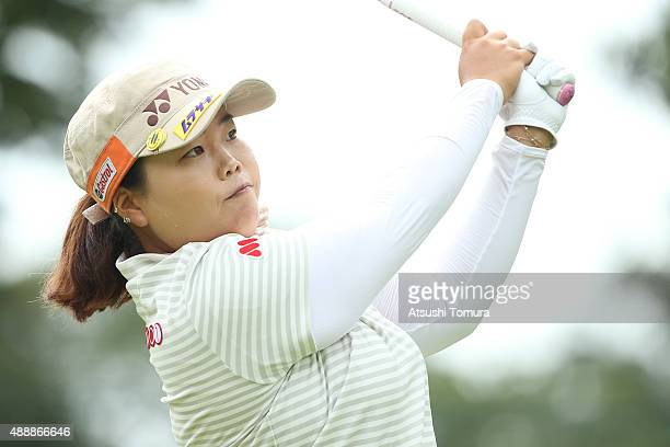 SunJu Ahn of South Korea hits her tee shot on the 1st hole during the first round of the Munsingwear Ladies Tokai Classic at the Shin Minami Aichi...
