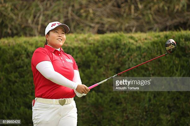 SunJu Ahn of South Korea hits her tee shot on the 2nd hole during the second round of the Studio Alice Open at the Hanayashiki Golf Club Yokawa...
