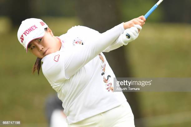SunJu Ahn of South Korea hits her tee shot on the 2nd hole during the second round of the KKT Cup Vantelin Ladies Open at the Kumamoto Airport...