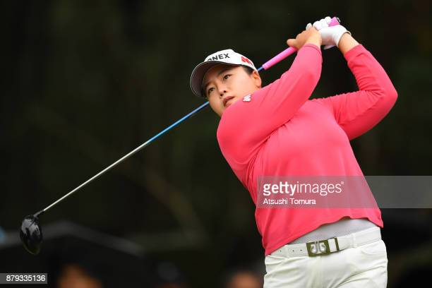 SunJu Ahn of South Korea hits her tee shot on the 2nd hole during the final round of the LPGA Tour Championship Ricoh Cup 2017 at the Miyazaki...