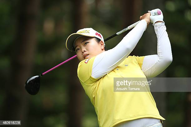 SunJu Ahn of South Korea hits her tee shot on the 3rd hole during the second round of the Daito Kentaku Eheyanet Ladies 2015 at the Narusawa Golf...