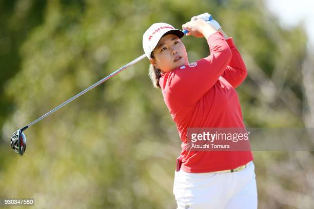 SunJu Ahn of South Korea hits her tee shot on the 3rd hole during the final round of the Tokohama Tire PRGR Ladies Cup at Tosa Country Club on March...