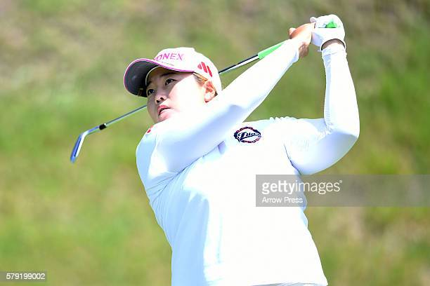 SunJu Ahn of South Korea hits her tee shot on the 4th hole during the second round of the Century 21 Ladies Golf Tournament 2016 at the Izu Daijin...