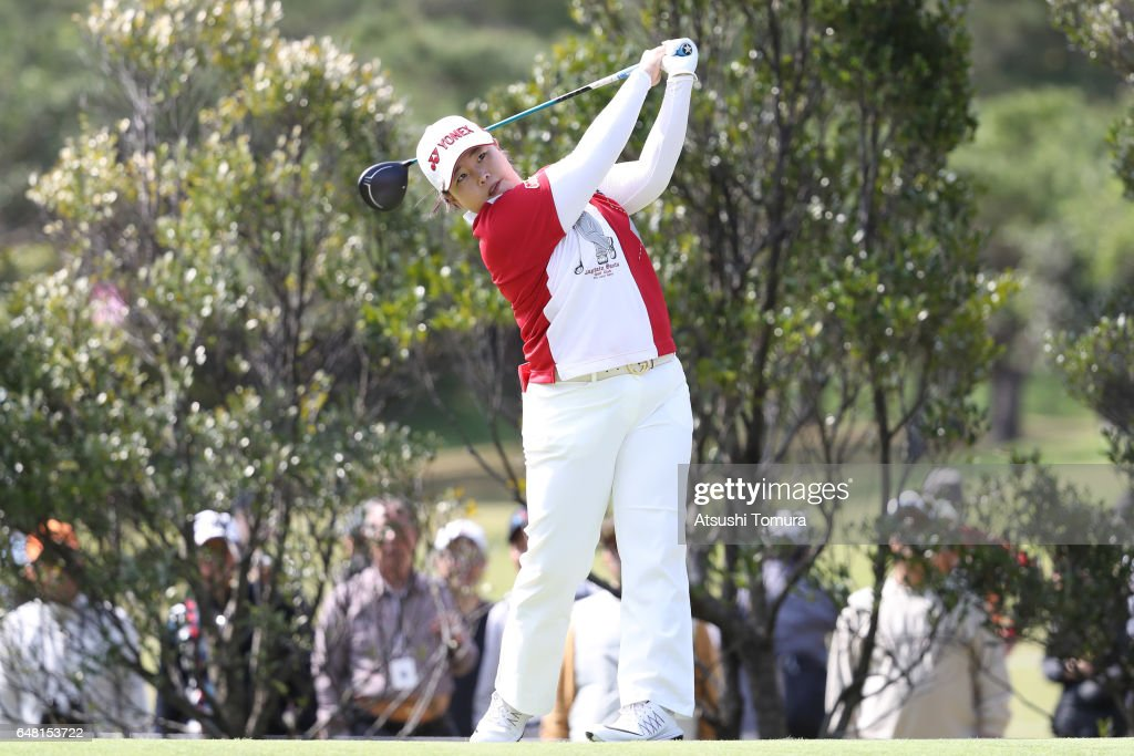 Sun-Ju Ahn of South Korea hits her tee shot on the 4th hole during the final round of the Daikin Orchid Ladies Golf Tournament at the Ryukyu Golf Club on March 5, 2017 in Nanjo, Japan.