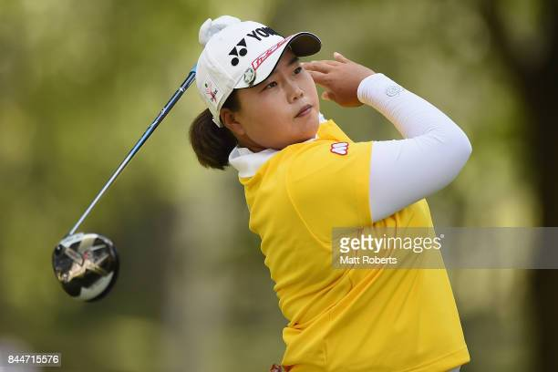 SunJu Ahn of South Korea hits her tee shot on the 5th hole during the third round of the 50th LPGA Championship Konica Minolta Cup 2017 at the Appi...