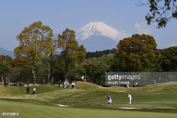 SunJu Ahn of South Korea hits her third shot on the 1st hole during the second round of the CyberAgent Ladies Golf Tournament at the Grand Fields...