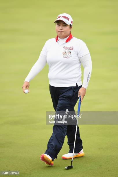 SunJu Ahn of South Korea looks dejected during the final round of the Munsingwear Ladies Tokai Classic 2017 at the Shin Minami Aichi Country Club...