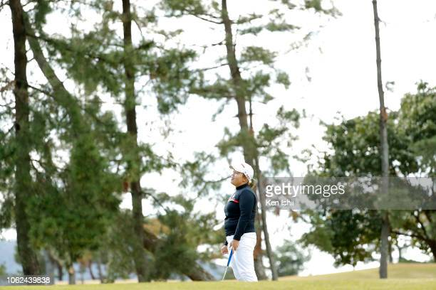SunJu Ahn of South Korea looks dejected on the on the 15th green during the first round of the TOTO Japan Classic at Seta Golf Course on November 02...