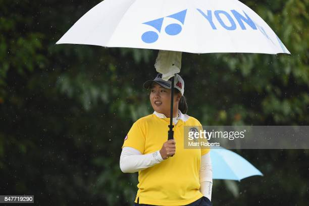 SunJu Ahn of South Korea looks on during the second round of the Munsingwear Ladies Tokai Classic 2017 at the Shin Minami Aichi Country Club Mihama...
