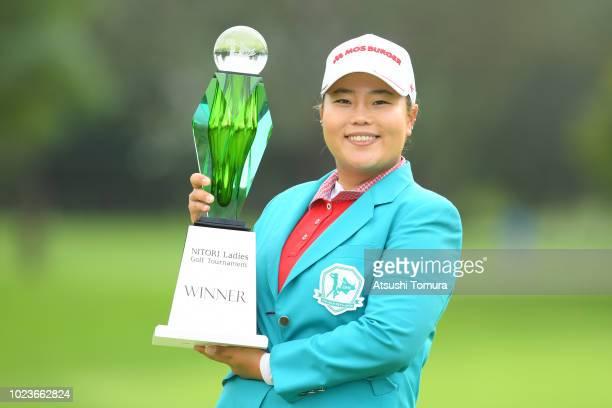 SunJu Ahn of South Korea poses with the trophy after winning the Nitori Ladies at Otaru Country Club on August 26 2018 in Otaru Hokkaido Japan
