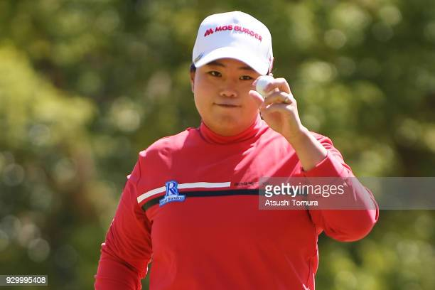 SunJu Ahn of South Korea reacts during the second round of the Tokohama Tire PRGR Ladies Cup at Tosa Country Club on March 10 2018 in Konan Kochi...