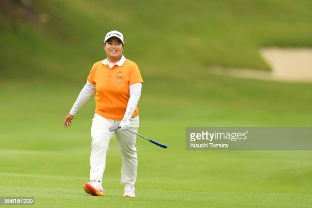 Sun-Ju Ahn of South Korea smiles during the first round of Stanley Ladies Golf Tournament at the Tomei Country Club on October 6, 2017 in Susono,...