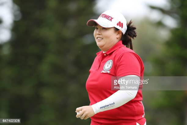 SunJu Ahn of South Korea smiles during the second round of the Daikin Orchid Ladies Golf Tournament at the Ryukyu Golf Club on March 3 2017 in Nanjo...