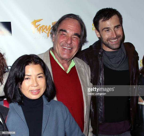 Sunjung Jung husband director Oliver Stone and actor/writer Sean Stone attend the premiere of Comedy Dynamics' The Fury of the Fist and the Golden...