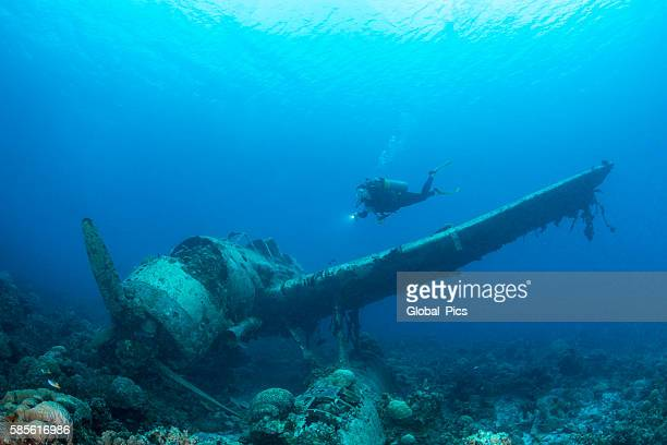 ii ww sunken airplane wreck -palau - sunken stock pictures, royalty-free photos & images