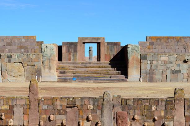 Sunken courtyard with head reliefs and Kalasasaya with Ponce monolith, Tiwanaku ruin complex, also Tiahuanaco, Unesco World Heritage Site, La Paz Department, Bolivia