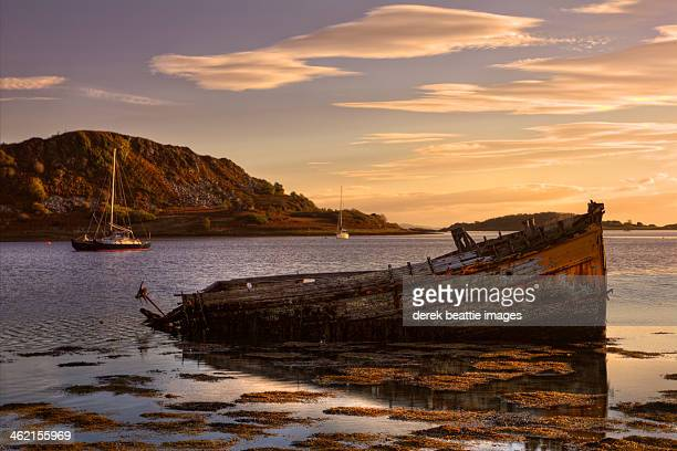 sunken gold on loch craignish - sunken stock pictures, royalty-free photos & images