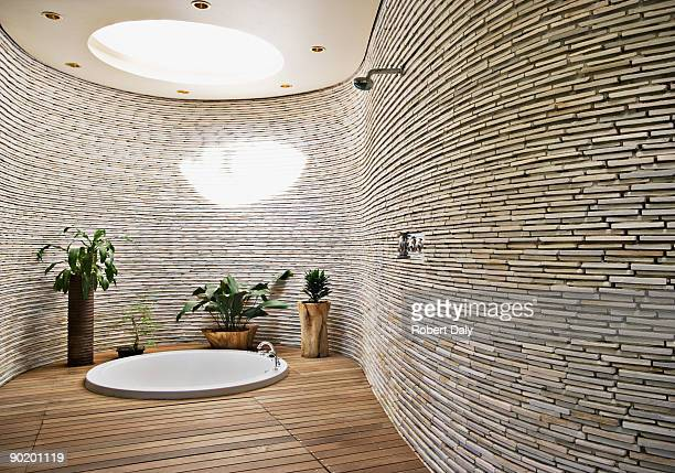 sunken tub in modern bathroom - glass ceiling stock pictures, royalty-free photos & images