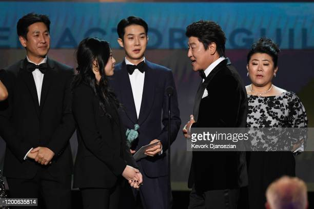 Sunkyun Lee Woosik Choi Jeongeun Lee and Kangho Song accept Outstanding Performance by a Cast in a Motion Picture for 'Parasite' onstage during the...