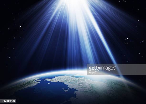 sunlight  and earth - light beam stock pictures, royalty-free photos & images