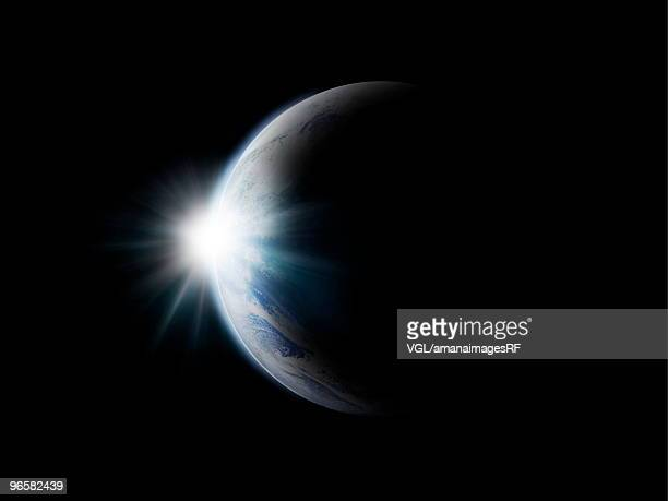 Sunlight behind the earth, computer graphic, black background, copy space