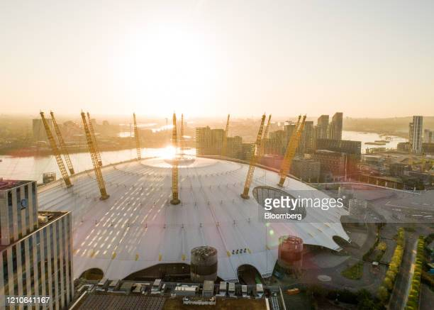 Sunlight catches the on the top of The O2 Arena entertainment venue in this aerial view in London, U.K. On Wednesday, April. 22, 2020. U.K. Inflation...