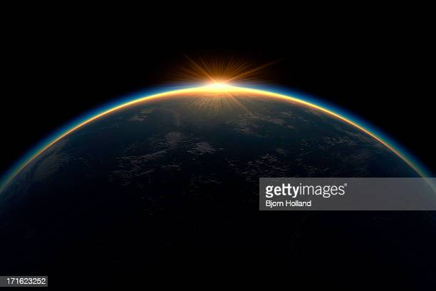 sunlight eclipsing planet earth - appearance stock photos and pictures