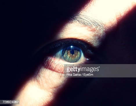 Sunlight Falling On Cropped Eye Of Person