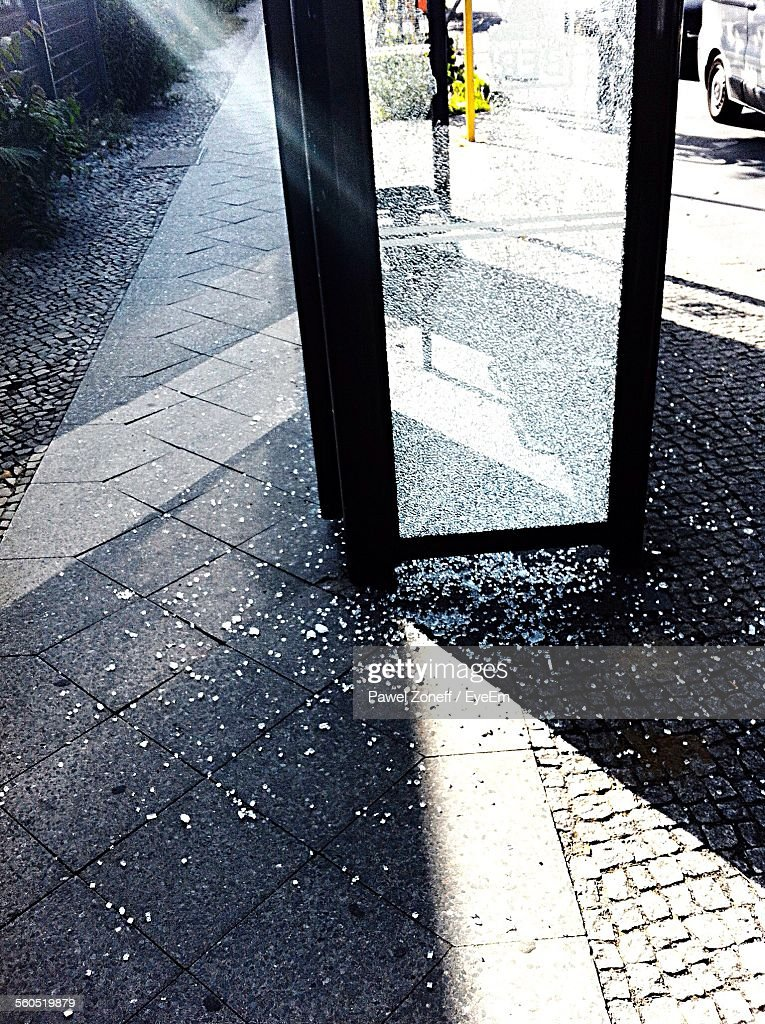 Sunlight Falling On Glass Door Which Is Crushed During Riot