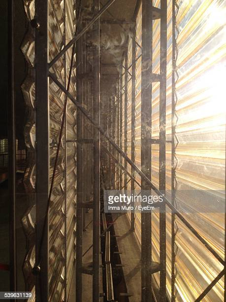 sunlight falling on window of construction site - muro stock photos and pictures