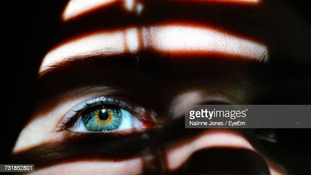 sunlight falling on woman eye in darkroom - darkroom stock pictures, royalty-free photos & images