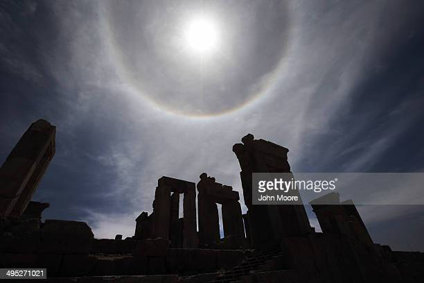 Sunlight forms a rainbow halow over the ancient Persepolis archeological site on May 30, 2014 in Persepolis, Iran. The ruins mark the site of the 6th...