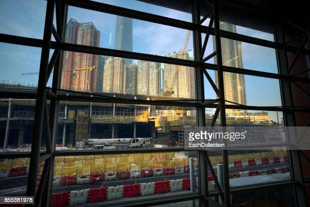 Sunlight hitting large construction site in Hong Kong
