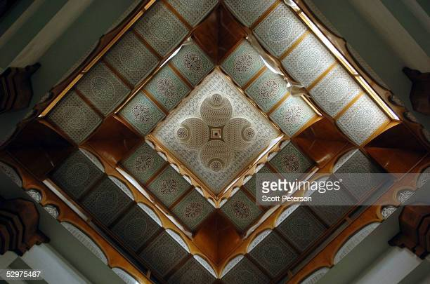 Sunlight illuminates the ceiling of the Tigris River palace of Saddam Hussein's daughter Hala which has become an Iraqi National Guard base called...