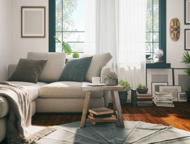 sunlight living room - indoors stock pictures, royalty-free photos & images