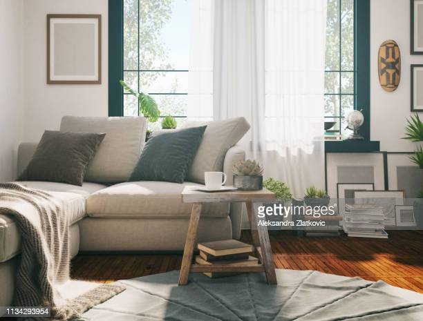 sunlight living room - home interior stock pictures, royalty-free photos & images