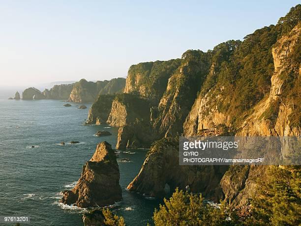 Sunlight on cliffs above sea, Yamasaki, Tanohata-son, Iwate Prefecture, Japan