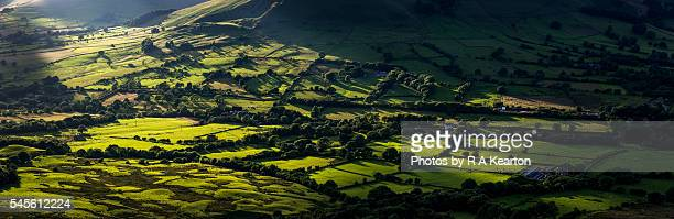Sunlight on the green fields of the vale of Edale, Derbyshire