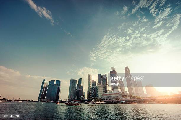 Sunlight over commercial skyscrapers in Marina Bay