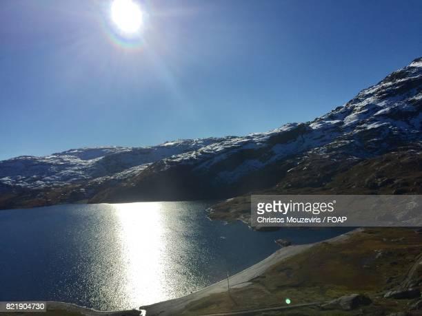 Sunlight reflected on norwegian lake
