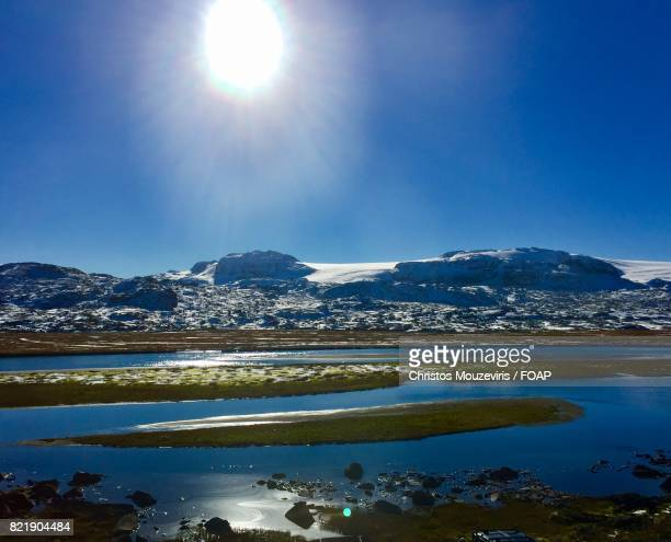 Sunlight reflected on Snowy mountain