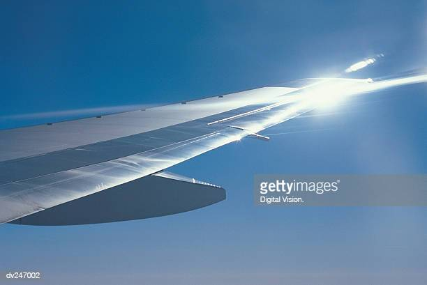 Sunlight reflecting off plane wing