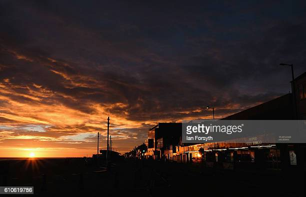Sunlight reflects from buildings on Redcar seafront on September 27 2016 in Redcar United Kingdom One year on since the SSI steel making plant at...