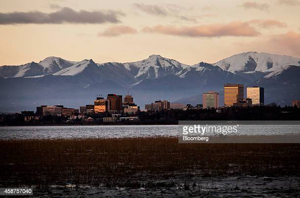Sunlight reflects off of buildings standing in downtown Anchorage Alaska US on Wednesday Nov 5 2014 Voters in Anchorage on Nov 4 approved a...