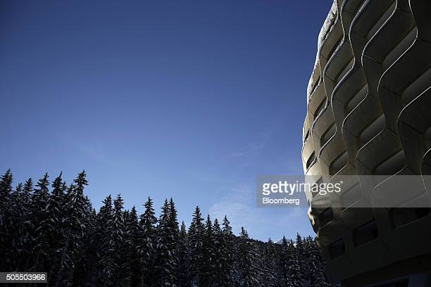 Sunlight reflects off of the gold coloured dome of the InterContinental Hotel Davos operated by InterContinental Hotels Group Plc ahead of the World...