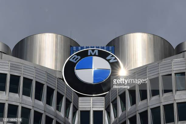 Sunlight reflects off the Bayerische Motoren Werke AG headquarters in Munich, Germany, on Friday, March 12, 2021. BMWexpects profit to rise this...