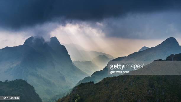 Sunlight shine into mountain.
